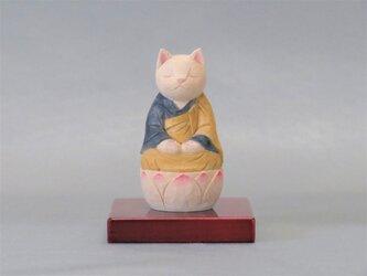 木彫り 袈裟を着た座禅猫 猫仏2007の画像