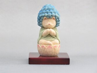 木彫り 五劫思惟阿弥陀猫 猫仏2006の画像