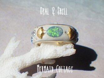 Opal & Shell*オパールとシェル・スワロフスキーのコースタルリングの画像