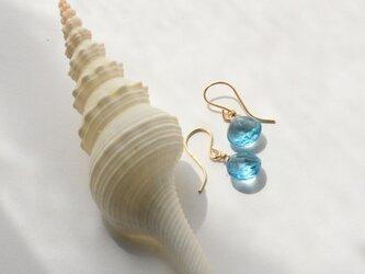 [PE] Swiss blue topaz Pierced Earringの画像