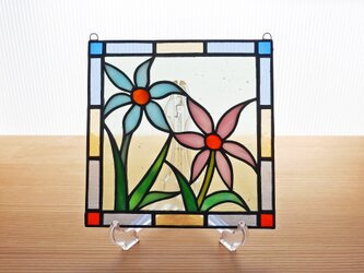 ステンドグラス ミニパネル 野花(ピンク&水色) 15cmの画像