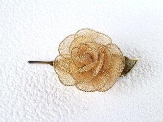 薔薇のブローチ(一葉・ゴールド)の画像
