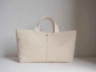 裂き織りのバッグ ミルクベージュの画像