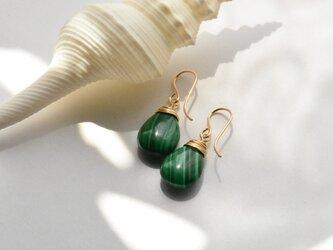 [PE]  Malachite Pierced Earringの画像