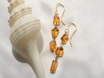 [PE] Brandy citrine long Pierced Earringの画像