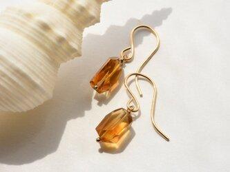 [PE] Brandy citrine  Pierced Earringの画像