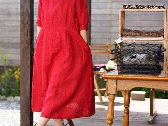 【wafu】中厚 リネン ワンピース ウエストダーツ リネンドレス 七分袖 膝下丈 / レッド a074a-red2の画像