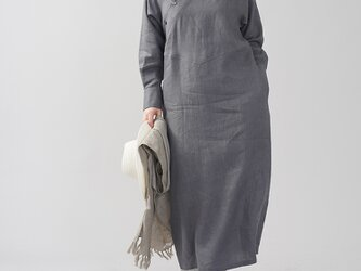 【wafu】中厚 斜めボタン ちびシャツ襟 ワンピース 伝統的スタイル カフス袖 タック袖/ディムグレー a028h-dmg2の画像