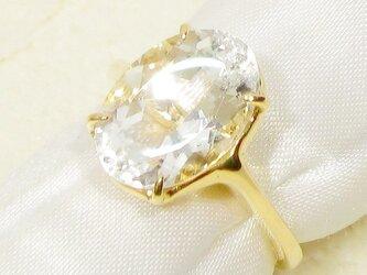 4.35ct水晶とSV925の指輪(リングサイズ:9号、K18イエローゴールドの厚メッキ、ブラジル産)の画像