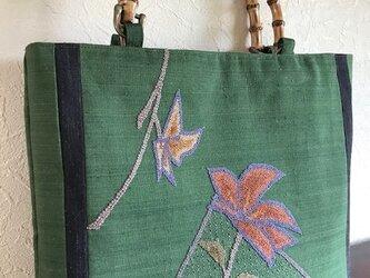 フレンチナット刺繍の帯地 竹の手手提げの画像