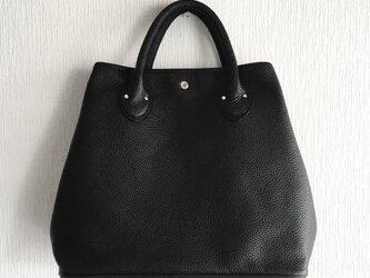 A4サイズ対応 イタリアンレザーのトートバッグ【ブラック】の画像