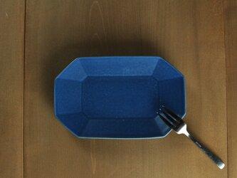 八角長7寸皿/青の画像