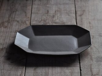 八角長8寸皿/グレーの画像