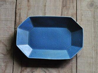 八角長8寸皿/青の画像