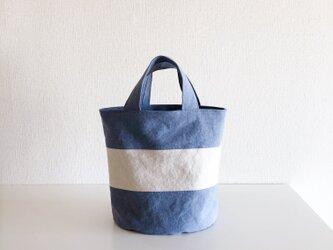 OVALTOTE - stripe - (M) /  bluegray & ecruの画像