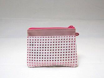 角財布(ピンクドット柄)【一点物】の画像