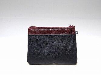 角財布(ブラック×レンガ)【一点物】の画像