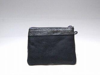 角財布(ブラック×シルバーラメ型押し)【一点物】の画像