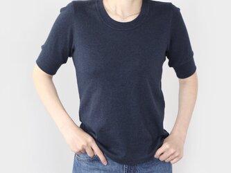 日本製オーガニックコットン 形にこだわった 大人の4分袖 袖口リブTシャツ【サイズ・色展開有り】の画像