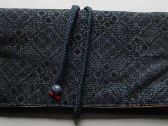 4810 夏大島紬で作った和風財布・ポーチ #送料無料の画像