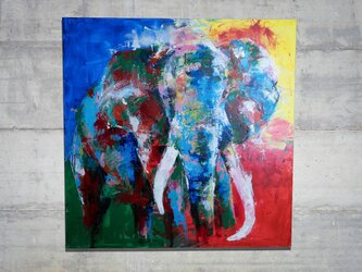 Elephant / 象の1メートル正方形キャンバス作品。の画像