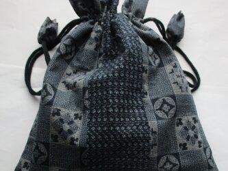 4811 男絣と着物で作った巾着袋 #送料無料の画像