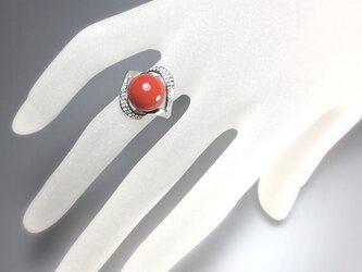 朱漆玉指輪(10mm玉)フリーサイズの画像