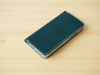 牛革 iPhone 11 Pro Max カバー  ヌメ革  レザーケース  手帳型 ネイビーカラーの画像