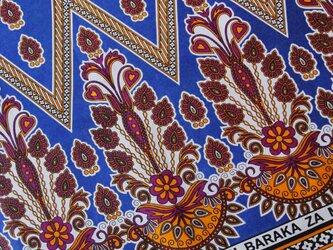 アフリカ布『カンガ』 オリエンタルブルー × オレンジの画像