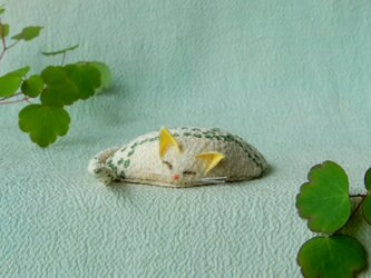 眠り猫(水玉緑)の画像