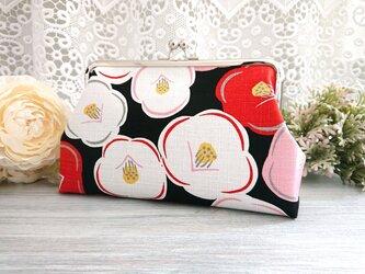 ◆ころりん椿のがま口ポーチ黒*和柄花柄着物浴衣レトロモダン旅行やプレゼントにの画像