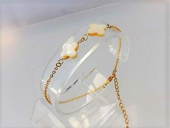 【ブレスレット】クロスカット白蝶貝2ミルキー・金の画像