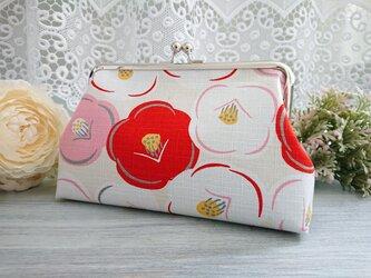 ◆【再販】ころりん椿のがま口ポーチ白*和柄花柄着物浴衣レトロモダン旅行やプレゼントにの画像