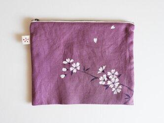 ポーチ大 パープル 桜の画像