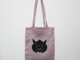 手提げバッグ くすみピンク 真向き兎の画像