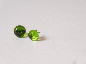 グリーンアップルのガラスピアスの画像