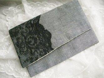 アンティークブラックレース 袱紗 ポーチ 黒ダンガリーの画像
