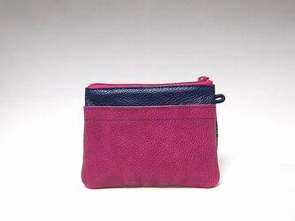 角財布(ピンク×ネイビー)【一点物】の画像