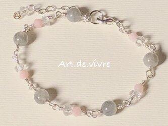 ラブラドライト&ピンクソープストーン&水晶の天然石ブレスの画像