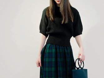 年間OK! タータンチェック 紺×緑 ロングスカート ●LYDIE●の画像