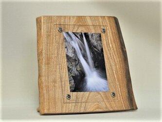 木製写真立て 壁掛け対応 No.9胡桃の天然木(KG-9)の画像