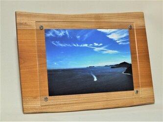 木製壁掛けフォトフレームA4サイズ対応 No.2欅の天然木の画像