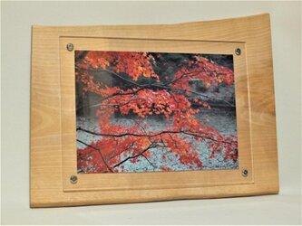 木製壁掛けフォトフレームA4サイズ対応 No.6水目桜の天然木の画像