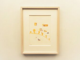 「橙色の町」 イラスト原画 ※額縁入りの画像