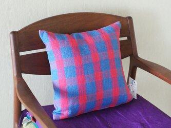手織りリネンのチェアクッションの画像