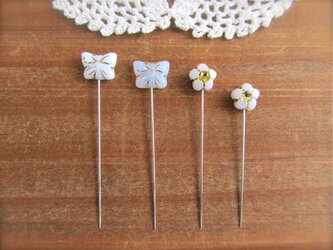 蝶々とお花ビーズの待ち針 白 4本セット の画像