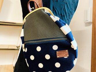 『受注制作品』帆布&本革  がまぐちボディバッグ 紺の画像