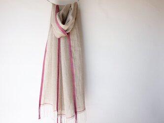 手織りリネンストール【澄花*02】の画像