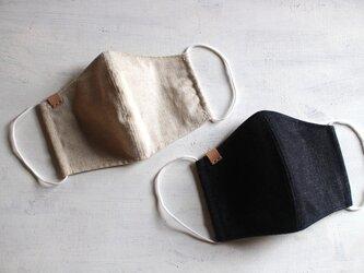 《納期5日程・送料無料》立体リネンマスク 1枚 革タグイニシャル刻印可能の画像