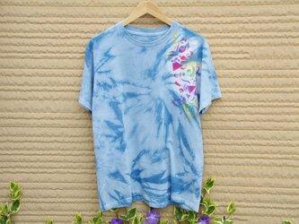 藍染絞りステンシルTシャツの画像